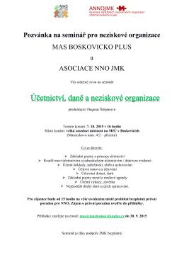 Pozvánka na seminář pro neziskové organizace MAS