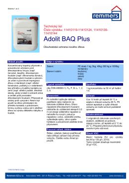 Technický list Adolit BAQ Plus
