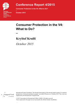 Consumer Protection in the V4: What to Do? – Kryštof Kruliš October