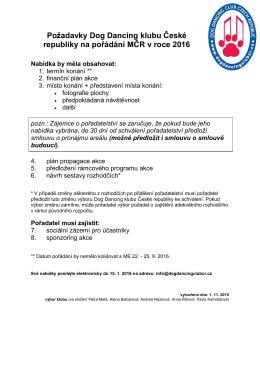 Požadavky DDCCR na pořádání MR ČR 2016