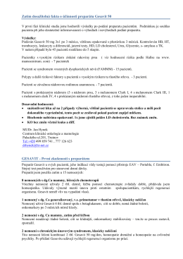 Zatím dosažitelná fakta o účinnosti preparátu Gesavit 50 GESAVIT