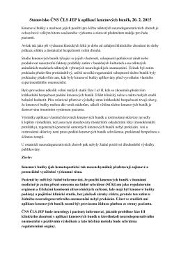 Stanovisko ČNS ČLS JEP k aplikaci kmenových buněk, 20. 2. 2015