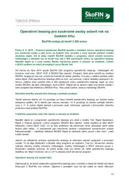 Operativní leasing pro soukromé osoby oslavil rok na českém trhu