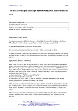 Vnitřní pravidla pro postup při odmítnutí zájemce o