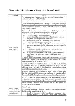 Změnový list Příručky pro příjemce, verze č. 7 oproti verzi č. 6