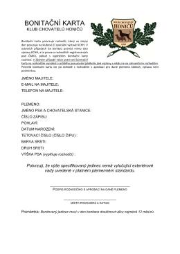 BONITAČNÍ KARTA - Klub chovatelů honičů