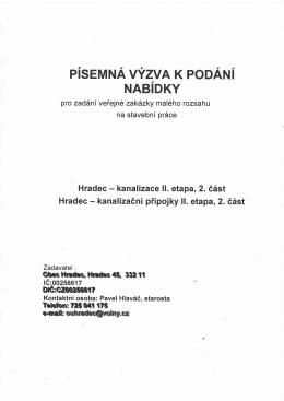 VEŘEJNÁ ZAKÁZKA - HRADEC - KANALIZACE II. etapa, 2 část