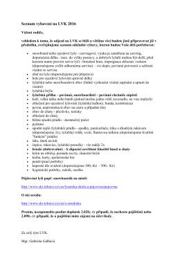 Seznam vybavení na LVK 2016