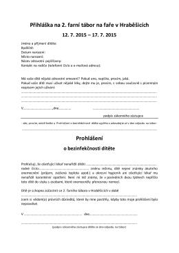 Přihláška na 2. farní tábor na faře v Hraběšicích Prohlášení