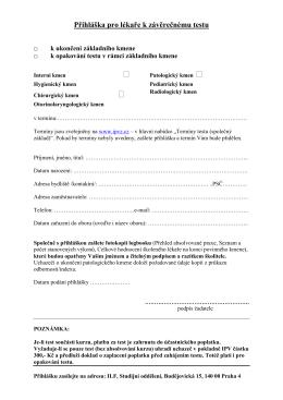 Přihláška pro lékaře k závěrečnému testu