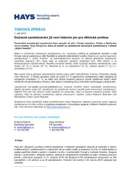 TISKOVÁ ZPRÁVA - People Management Forum