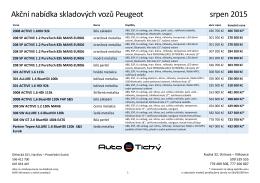 Akční nabídka skladových vozů Peugeot srpen 2015