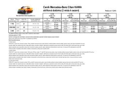 Ceník Mercedes-Benz Citan KAWA skříňová dodávka (2 místa k