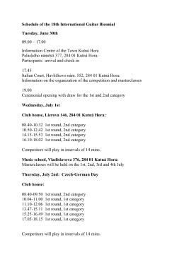 Schedule of the 18th International Guitar Biennial Tuesday, June