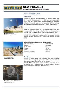 270 MW NPP Mochovce 3,4, Slovakia