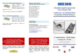 Call for Paper - Chemicko tepelné zpracování kovových povrchů (24