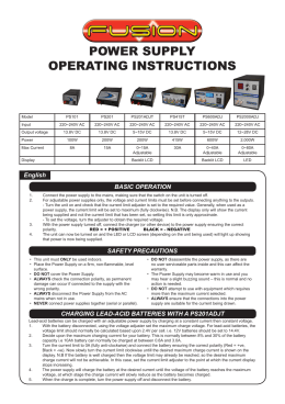 POWER SUPPLY OPERATING INSTRUCTIONS
