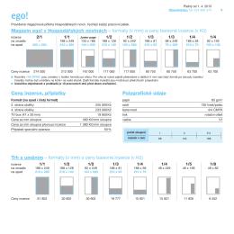 Magazín ego! v Hospodářských novinách – formáty (v mm) a ceny