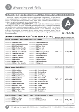 2015 Katalog ARLON Wrap / převlekové fólie