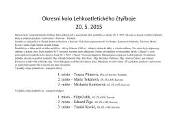 Okresní kolo Lehkoatletického čtyřboje 20. 5. 2015