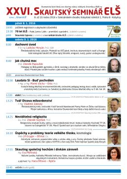 XXVI. SKAUTSKÝSEMINÁŘ - Ekumenická lesní škola