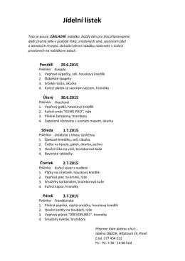 Stáhni si Jídelní lístek 29.6. – 3.7. 2015