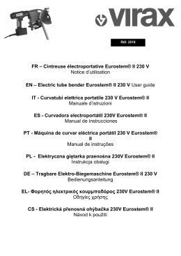 FR – Cintreuse électroportative Eurostem® II 230 V Notice d
