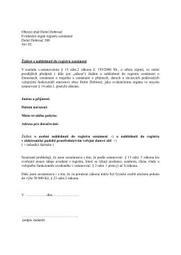 Žádost o nahlížení do registru oznámení v písemné i elektronické