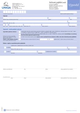 Formulář výpovědi - zdravotní pojištění