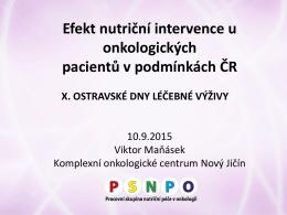 Efekt nutriční intervence u onkologických