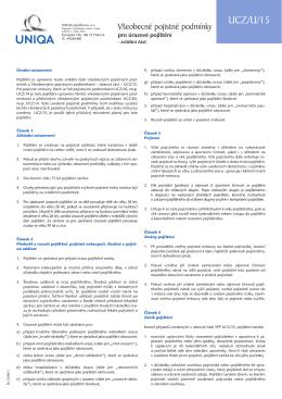 Všeobecné pojistné podmínky pro úrazové pojištění UCZ/U/15