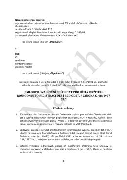 Obecná smlouva mezi NRC a držitelem rozhodnutí o registraci