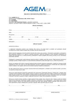 Smlouva o obchodní spolupráci s AGEM.CZ