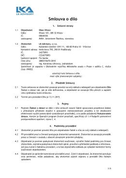 Smlouva o dílo, LK Advisory, s.r.o.