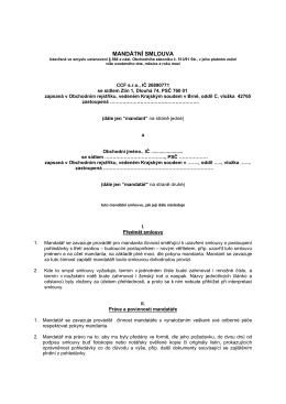 Mandátní smlouva na odkup pohledávky