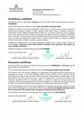 Pojištění dopravce 2015/16
