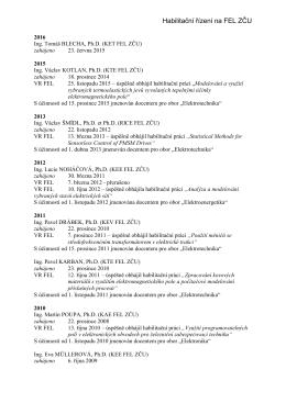 Habilitační řízení na FEL ZČU v Plzni