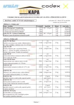 Ceník výrobků CODEX - PDF