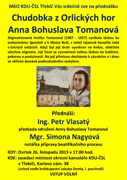 Chudobka z Orlických hor Anna Bohuslava Tomanová