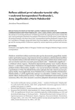 Reflexe událostí první rakousko turecké války v soukromé