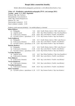 Rozpis žáků u maturitní zkoušky