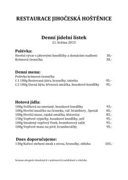 RESTAURACE JIHOČESKÁ HOŠTĚNICE Denní jídelní lístek