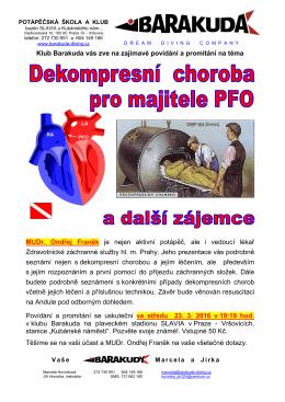 přednáška Dekompresní choroba pro majitele PFO plakát
