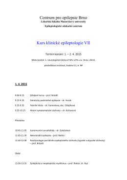 Centrum pro epilepsie Brno Kurs klinické epileptologie VII