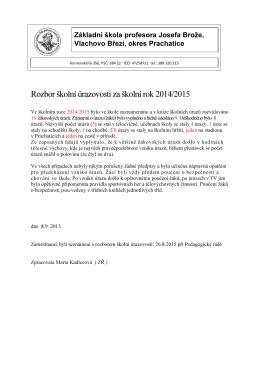 Rozbor školní úrazovosti za školní rok 2014/2015