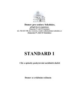 standard č.1dzr2014 - Domov pro seniory Sokolnice