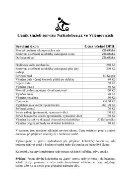 Ceník servisních prací ve Vilémovicích