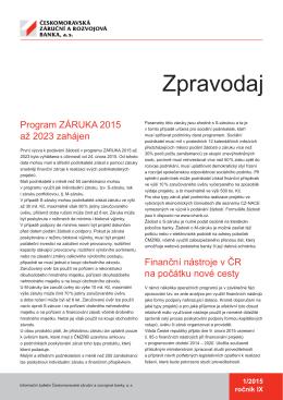 Zpravodaj č. 1/2015 - Českomoravská záruční a rozvojová banka, as
