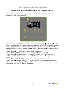 řídící a rozvaděčová jednotka popis ovládání