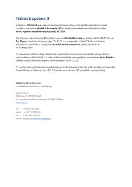 Tisková zpráva II - Slavnostní otevření výrobny